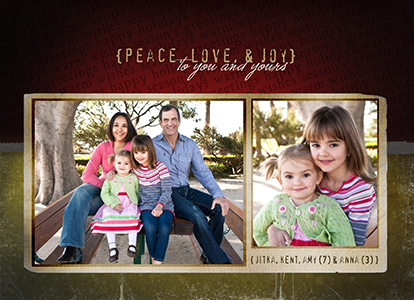 Peace, Love, and Joy Photo Card by Christine Haws Photography, Peoria IL